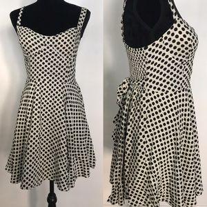 Retro Off White and Black Polka Dot Dress